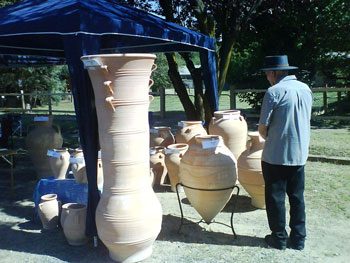 Grecian Urn pots being admired on Australia Day in Carcoar, NSW